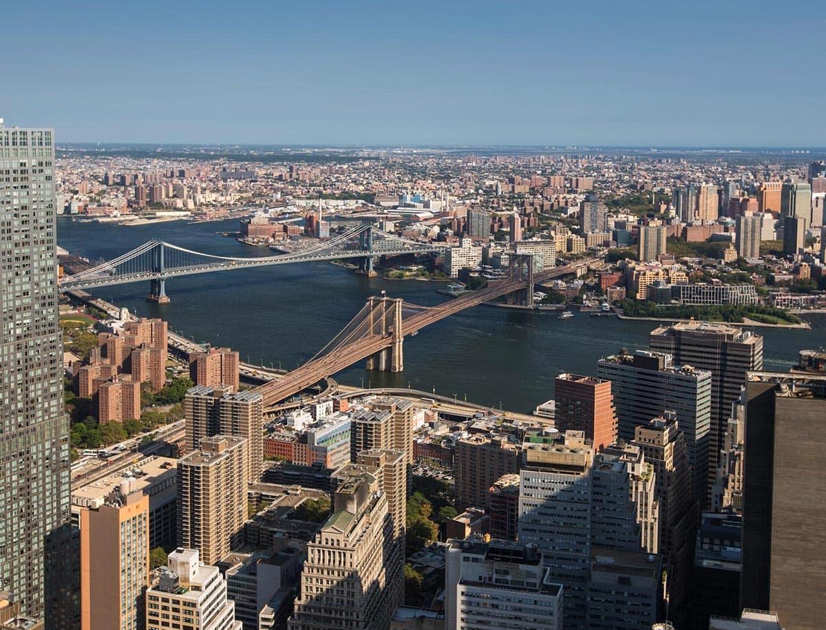 Bird's Eye View Overlooking Brooklyn Bridge in NYC