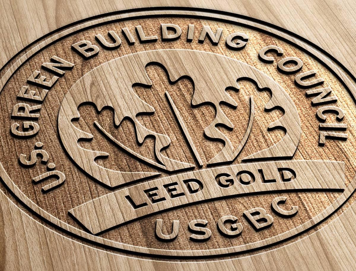 U.S. Green Building Council Leed Gold Wood Grain Logo
